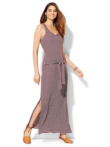 Lounge - Tie-Front Tank Dress - Stripe  - New York & Company