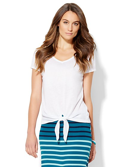 Lounge - Tie-Front Tee  - New York & Company