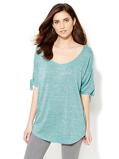 Lounge - Tie-Sleeve Heathered Tunic Top - New York & Company