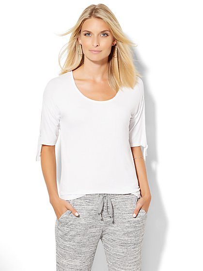 Lounge - Tie-Sleeve Scoopneck T-Shirt  - New York & Company