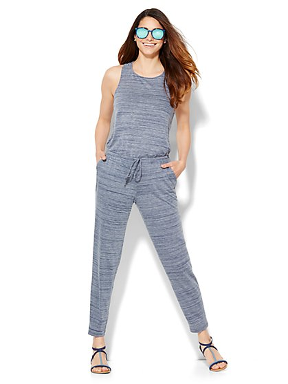 Lounge - Twist-Detail Jumpsuit - Space-Dye  - New York & Company
