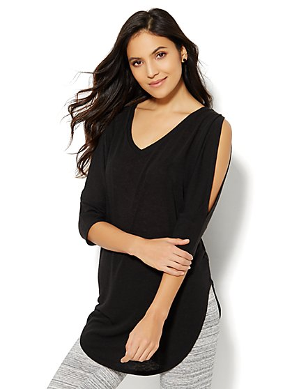 Lounge - V-Neck Cold-Shoulder Tunic   - New York & Company