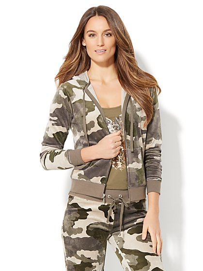 Lounge - Velour Hoodie Jacket - Camouflage Print - New York & Company