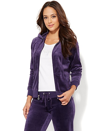 Lounge - Velour Hoodie Jacket - New York & Company