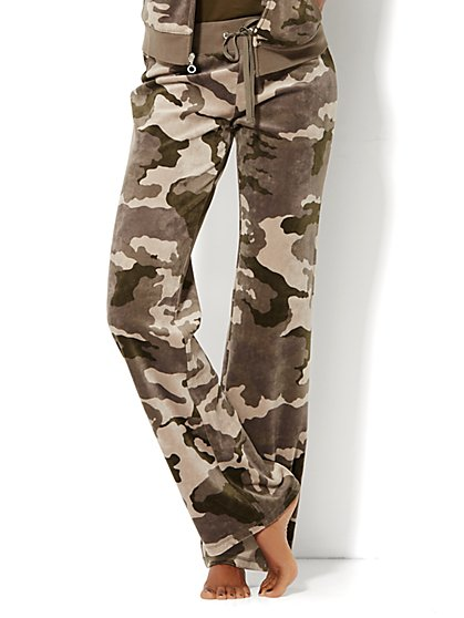 Lounge - Velour Pant - Camouflage Print  - New York & Company