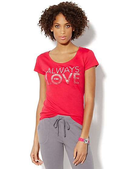 Love, NY&C Collection - Always Love Sparkle Logo Tee Shirt  - New York & Company