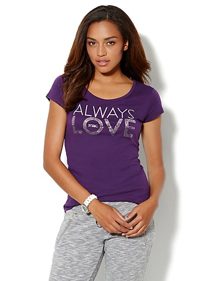 Love, NY&C Collection - Always Love Sparkle Logo Tee Shirt  - New York & Company