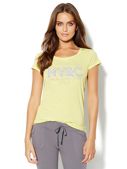 Love, NY&C Collection - Animal-Print Logo Tee Shirt - New York & Company