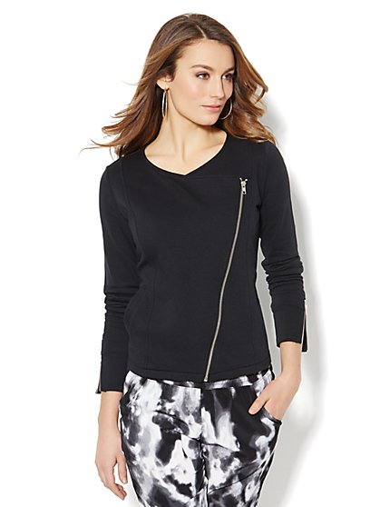 Love, NY&C Collection - Asymmetrical Moto Jacket - Black  - New York & Company