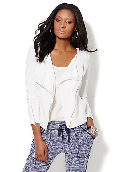 Love, NY&C Collection - Asymmetrical Moto Jacket - White  - New York & Company
