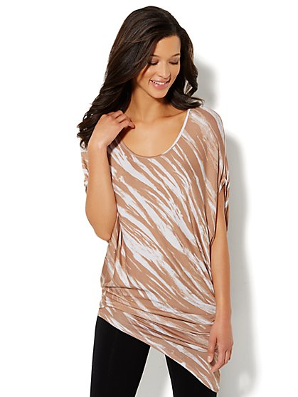 Love, NY&C Collection - Asymmetrical Printed Poncho Tunic - New York & Company