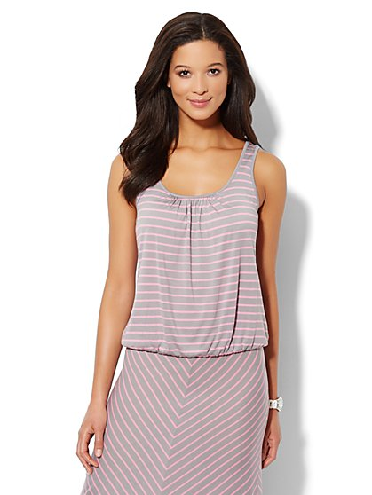 Love, NY&C Collection - Banded-Hem Striped Tank Top  - New York & Company