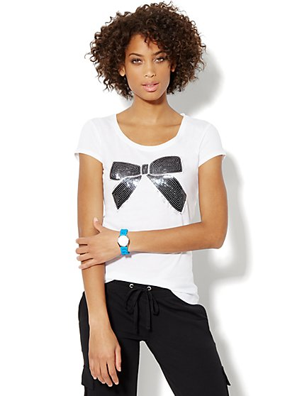 Love, NY&C Collection - Black Sequin Bow Tee - New York & Company
