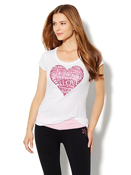 Love, NY&C Collection - Breast Cancer Awareness Heart Shirt - New York & Company