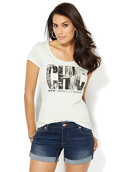 Love, NY&C Collection - Chic Skyline Logo Tee  - New York & Company