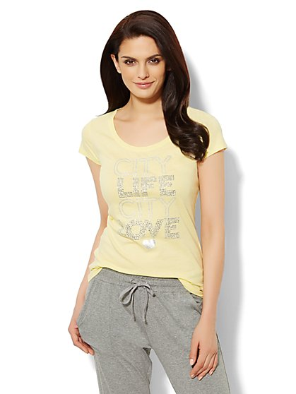 Love, NY&C Collection - City Life, City Love Logo Tee  - New York & Company