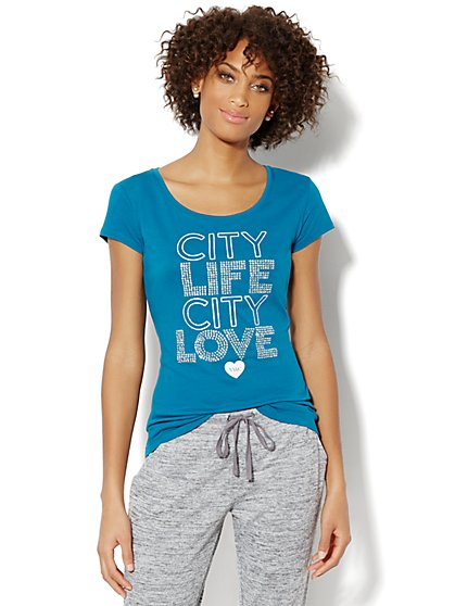 Love, NY&C Collection - City Life Sparkle Logo Tee Shirt  - New York & Company