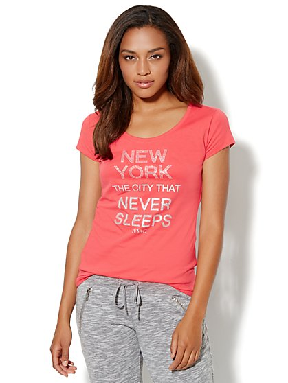 Love, NY&C Collection - City Sparkle Logo Tee Shirt  - New York & Company