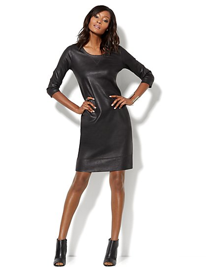 Love, NY&C Collection - Coated Sweatshirt Dress - New York & Company