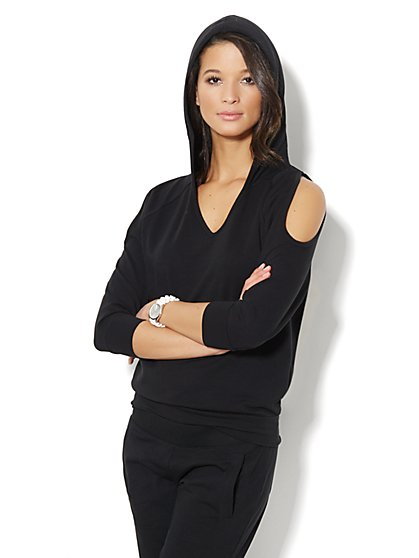 Love, NY&C Collection - Cold-Shoulder Hoodie - New York & Company