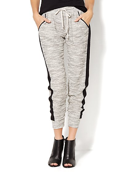 Love, NY&C Collection - Contrast-Trim Heathered Jogger  - New York & Company