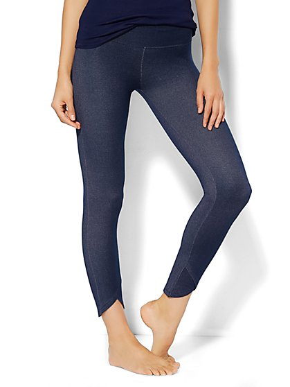Love, NY&C Collection - Denim Jersey - Tulip-Hem Legging - Dusk Blue  - New York & Company