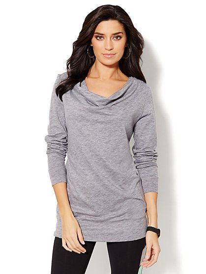 Love, NY&C Collection - Drape-Neck Tunic - Heathered  - New York & Company