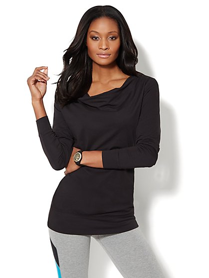Love, NY&C Collection - Drape-Neck  Tunic - Solid  - New York & Company