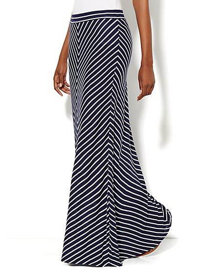Love, NY&C Collection - Drawstring Maxi Skirt - Striped  - New York & Company
