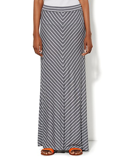 Love, NY&C Collection - Drawstring Maxi Skirt - Striped  - New York & Company