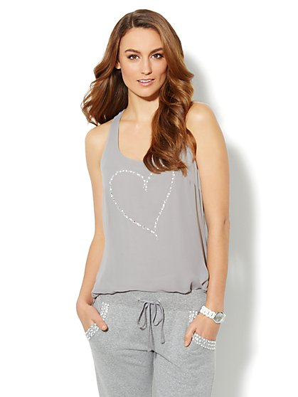 Love, NY&C Collection - Embellished Heart Racerback Tank - New York & Company