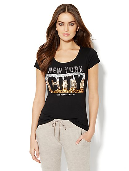 Love, NY&C Collection - Embellished NYC Tee - New York & Company