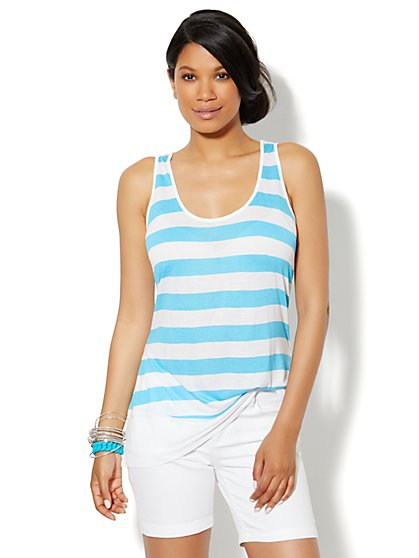 Love, NY&C Collection - Envelope-Seamed Striped Tank