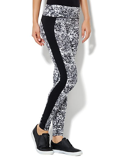 Love, NY&C Collection - Envy Contrast-Panel Legging - Marble Print - New York & Company