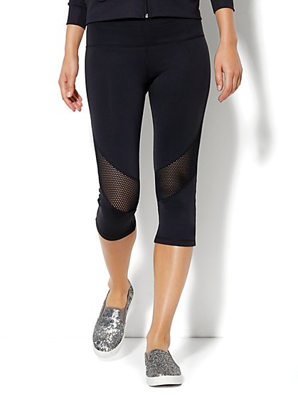 Love, NY&C Collection - Envy Mesh Crop Legging - Black - New York & Company