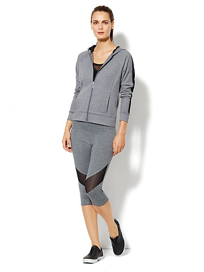 Love, NY&C Collection - Envy Mesh-Trim Jacket - Eclipse Heather