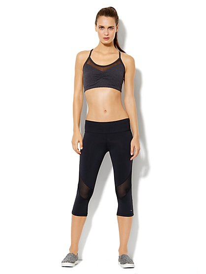 Love, NY&C Collection - Envy Mesh-Trim Sports Bra - Grey