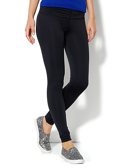 Love, NY&C Collection - Envy Shirred Legging - Black - New York & Company