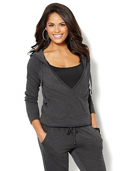 Love, NY&C Collection - Faux-Wrap Hoodie - Solid  - New York & Company