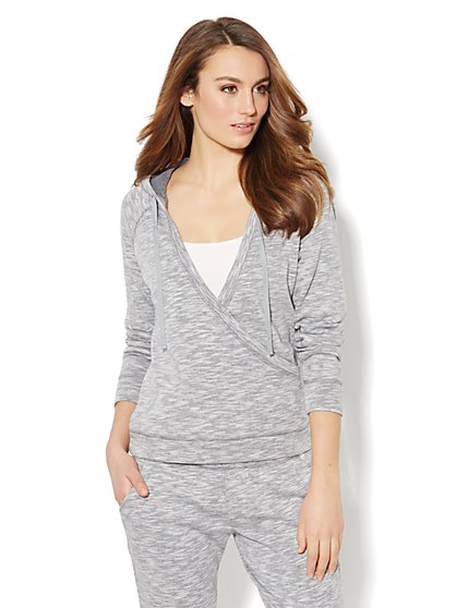 Love, NY&C Collection - Faux-Wrap Hoodie - Space-Dyed  - New York & Company