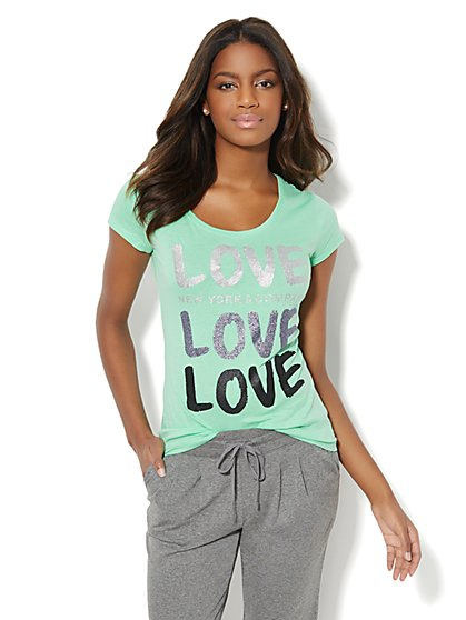 Love, NY&C Collection - Glitter Love Logo Tee  - New York & Company