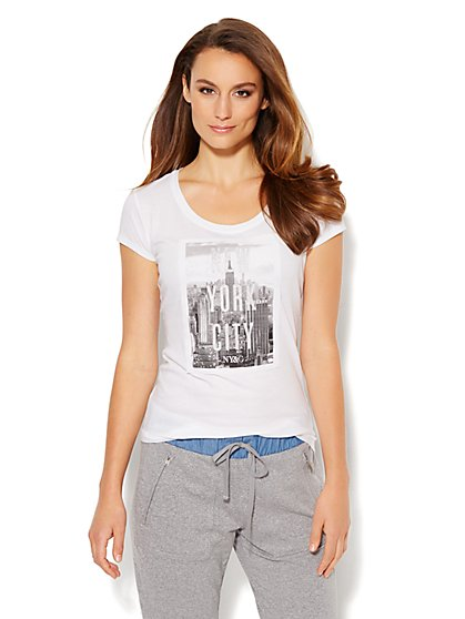 Love, NY&C Collection - Glitter Skyline Logo Tee  - New York & Company