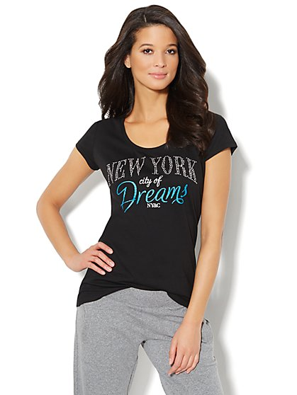 Love, NY&C Collection - Glittering Logo Tee - New York & Company