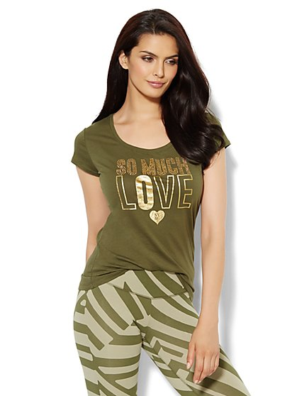 Love, NY&C Collection - Goldtone Stud Logo Tee  - New York & Company