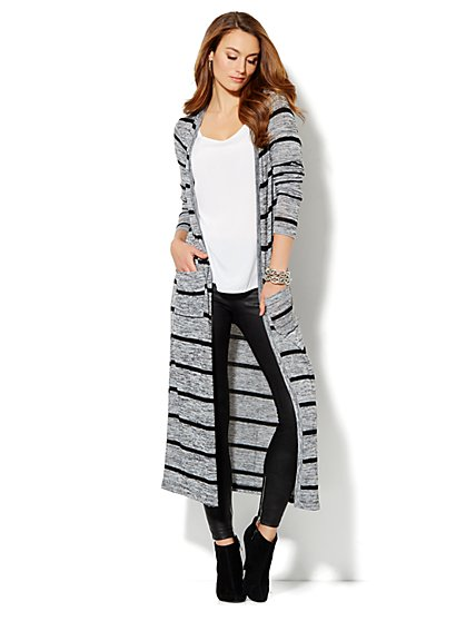 Love, NY&C Collection - Heathered Striped Duster - New York & Company