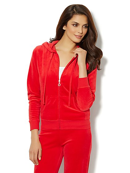 Love, NY&C Collection - Hooded Velour Jacket - Red Hot - New York & Company