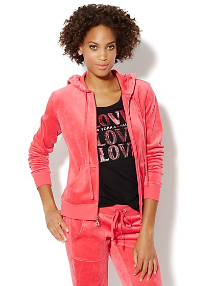 Love, NY&C Collection - Hooded Velour Jacket - New York & Company