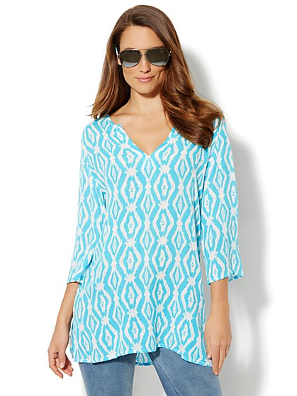 Love, NY&C Collection - Ikat-Print Tunic Top  - New York & Company