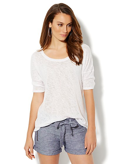 Love, NY&C Collection - Light-Knit Draped Back Pullover  - New York & Company