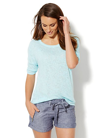 Love, NY&C Collection - Light-Knit Draped Back Pullover  - New York & Company